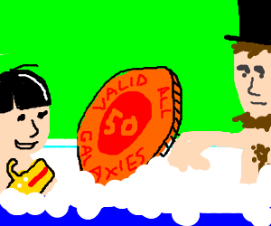 intergalatic coin taking a bath with ringo & abe