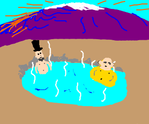 Honest Abe & Buddha chilling in the hot springs