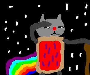 Bipedal Nyan Cat struggles through the Void.
