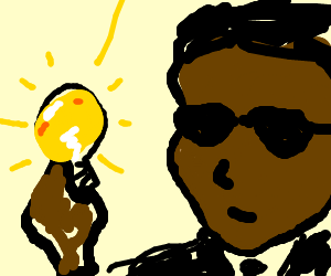 man in black (from movie) holds a light bulb