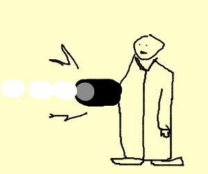 man shoots marshmallows from big black robot arm