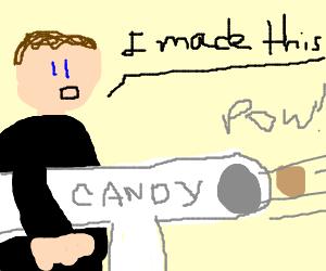 Man creates marshmallow arm-cannon