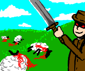 red eye'd man slaughters sheep with sword.