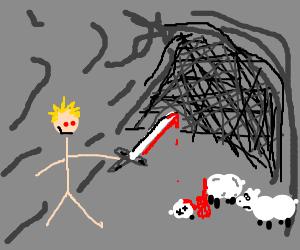 Stick man mutilates cave full of animals for fun