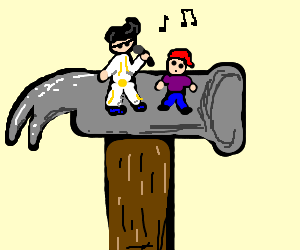 miniature elvis plays atop a hammer for a boy