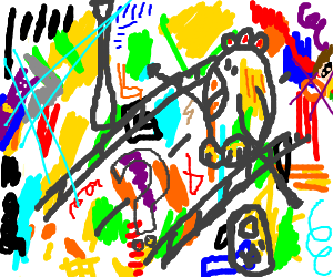 Modern Art Painting-Why did the chicken cross...