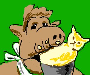 Alf eating some yellow cat-pudding