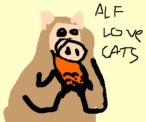 Alf tries to eat a cat