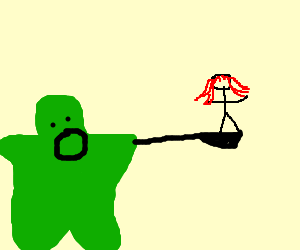 Flubber is going to eat a red haired girl