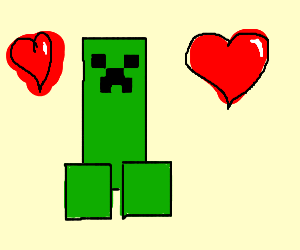 Creeper from minecraft is in love
