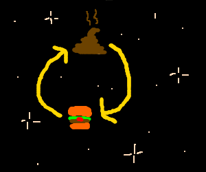 poop recycling circle on starry background