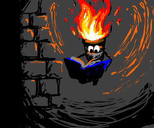 Animated wall torch reads book to pass time