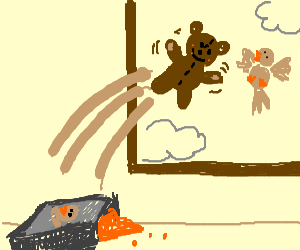 teddybear eat birdfood &fly through the window