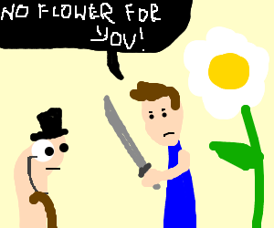 Man defends flower from gentlemanly worm
