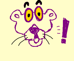 Pink Panther is surprised