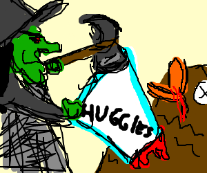 angry witch is hammering a diaper onto an owl.