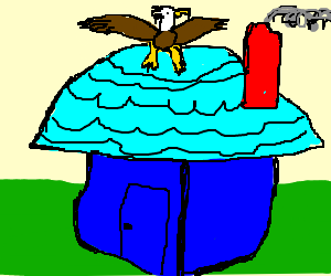 An eagle atop a blue house