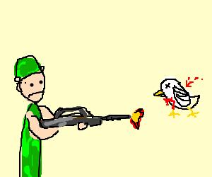 Soldier attacks poor defenseless bird