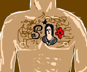 the Mona Lisa tattooed on a hairy chest