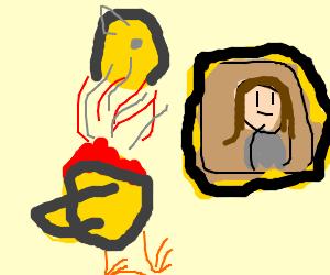 Headless bird appreciates the mona lisa