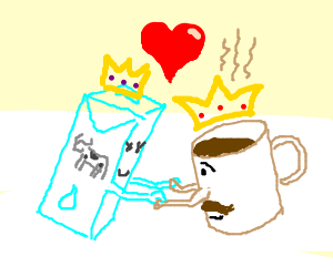 King milk and queen coffee falling in love.