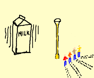 4 midgets in line on a girl's milkshake stand