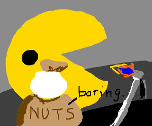 PacMan's nutsack is unimpressed by torch