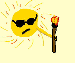 Sun with sunglasses and a torch on hand