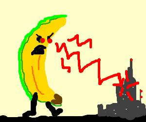 Atomic banana w. laser eyes zaps cities