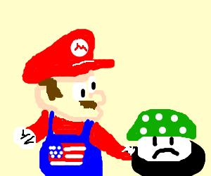 Pro-america Mario fries sad mushroom