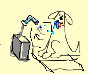 Dog has dental vacuum for slobber