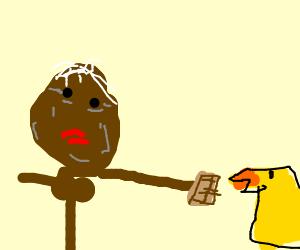 black grandma feed chocolate to chicken