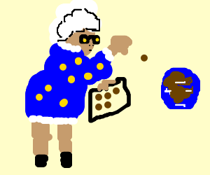 Grandma throwing cookies at earth