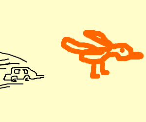 a car chases a giant orange bird