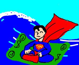 Superman uses a giant $3 note as a raft