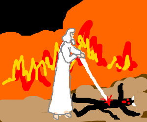 Gandalf the White defeats Satan in Hell