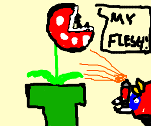 Piranha plant gets attacked by angry bug