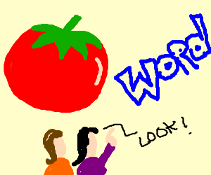 Two kids see giant tomato and blue word