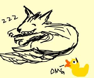 Sleeping werewolf alarms rubber duck