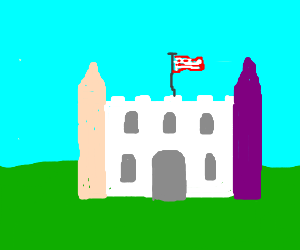 White Castle with pink & purple towers.