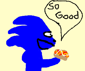 Sonic eats happily a hot dog.