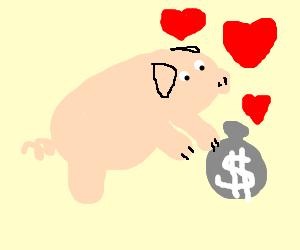 Pig loves his sack of money