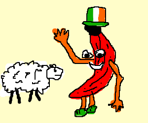 Irish red banana greets a sheep