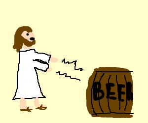 Jesus turns beer into more beer!