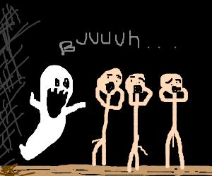 Casper scares 3 stickmen.
