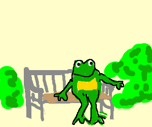 Frog sitting on a bench.