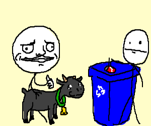 Goat enthusiastically encourages recycling