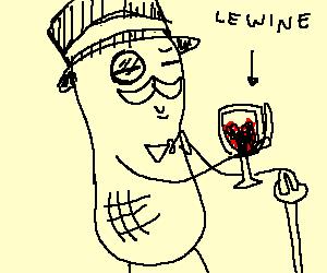 Mr. Peanut drinks glass of red wine like a sir