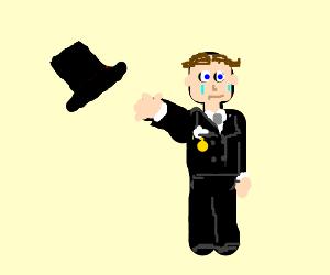 Posh fellow loses top hat, cries.