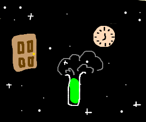 A door, a clock and a potion in space.
